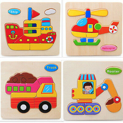 Wooden Blocks Transport Kids Educational Toy Puzzle 1pc Cartoon Toy For Child