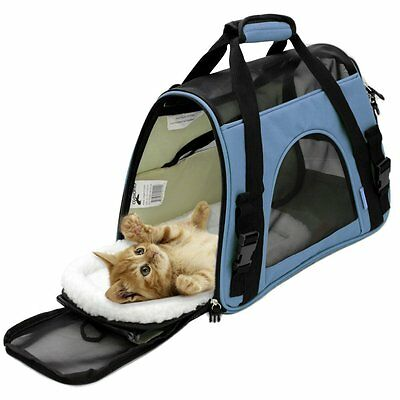 Airline Approved Pet Carriers w/ Fleece Bed For Dog & Cat -  Soft Sided Kennel