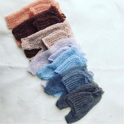 Newborn Hand Knit Mohair Pants & Beanie Hat SET for Baby Photo Prop Photography