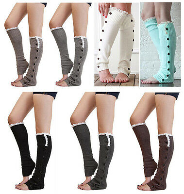Woman Ladies Girls Knitted Leg Warmers with Buttons, Cable Knit Boot Socks