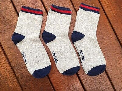 NEW Pack of 3, Kids Boys Casual Ankle Socks by Red Robin, Size 3-5