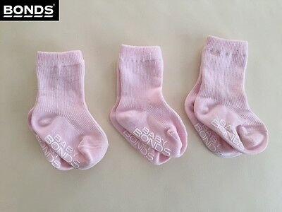 SALE NEW Bonds BABY CLASSICS CUFF Socks 3 PACK or 2 Pack, Baby Girls, 00-1, pink