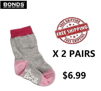 2 Pack, SALE NEW Bonds Stay On GRIP SOLE CREW Socks, Baby Girls, Size 2-4