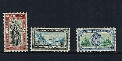 New Zealand...1946 Peace  3 Stamps  ..mint Unhinged