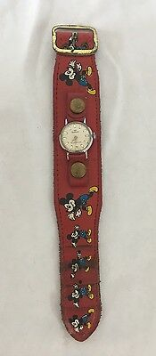 Mickey Mouse Watch Waltham Walt Disney Vintage Red Band Wind Up