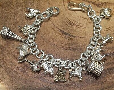 Vtg 12 Sterling Silver 925 Charms Bracelet Trash Cat Oil Rig Ruby Fish Animals