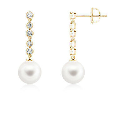 Freshwater Cultured Pearl Long Drop Earrings And Diamonds 14K Yellow Gold/Silver