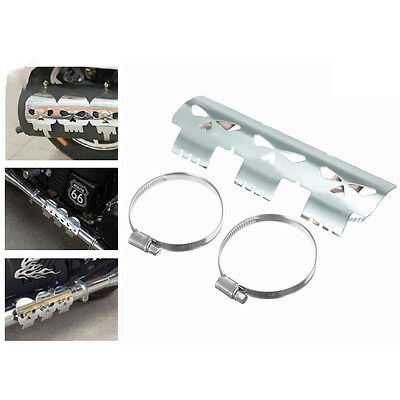 Skull Chrome Motorcycle Flame Exhaust Muffler Pipe Heat Shield Cover Heel Guard