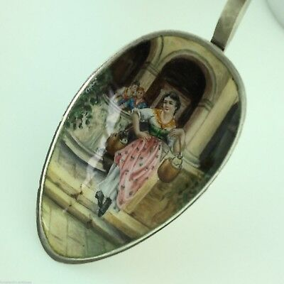 Vintage Italian solid silver Enamel spoon with Venice The Lion of St. Mark on it