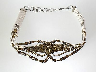 Vintage 80's Womens Statement Belt Punk Metal Leather White Gold Material Girl