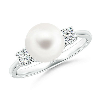8 mm Solitaire Freshwater Cultured Pearl Ring with Cluster Diamond 14K Gold