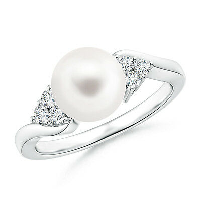 14K White Gold June birthstone FreshWater Cultured Pearl And Diamond Bypass Ring