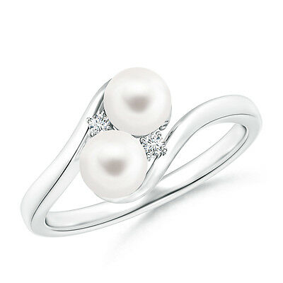 5 mm Double FreshWater Cultured Pearl Bypass Ring with Diamond 14K White Gold