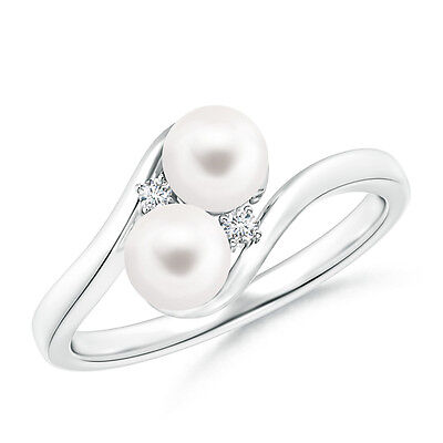 Double FreshWater Cultured Pearl Bypass Ring with Diamond 14K White Gold