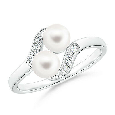 5 MM FreshWater Cultured Pearl Ring with Diamond Accents 14K White Gold/ Silver