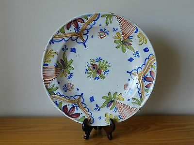 c.19th - Antique Spain Spanish Hand Painted Faience Majolica Floral Plate