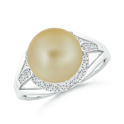 10 mm Golden South Sea Cultured Pearl Ring with Diamond Halo in 14K White Gold