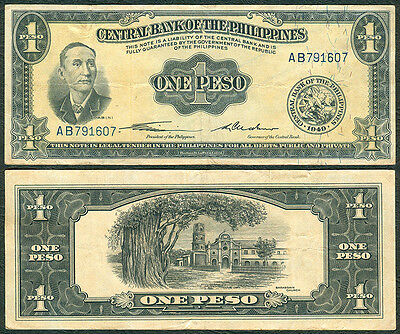 1949 1 Peso English Series Quirino Cuderno Philippine Banknote