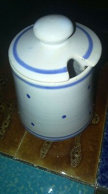 Unusual White Spotted Briglin  Studio Pottery Jam Sugar Pot Free Postage