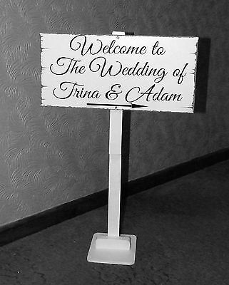 Vintage Wedding Welcome Bride and Groom Sign on a post with stand