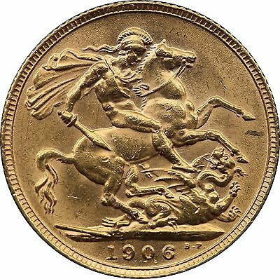 1906 Gold Sovereign Edward VII London mint