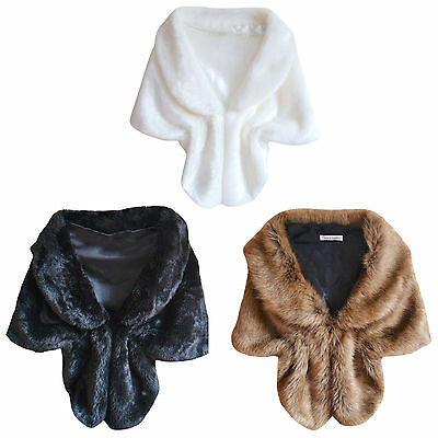 High-grade Elegant Bridal Wedding Faux Fur Long Shawl Stole Wrap Shrug Scarf