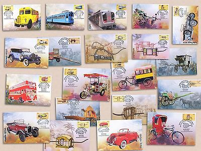 Cmplt set of 20 maxi cards - means of transport cars bus truck tram metro train