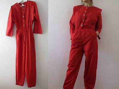 80s Red Boiler Suit Jumpsuit Play Suit Romper Small Buy 3 + items for FREE Post