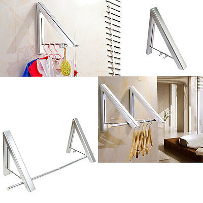 Aluminum Retractable Indoor Clothes Wall Mounted Folding Laundry Rack Hanger