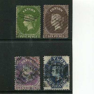 Ceylon 1863 Queen 4 Different Used