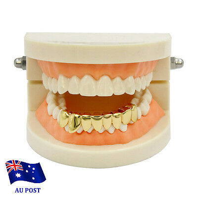 NEW 24K Gold Plated High Quality CZ Top & Bottom GRILLZ Mouth Teeth Grills BO
