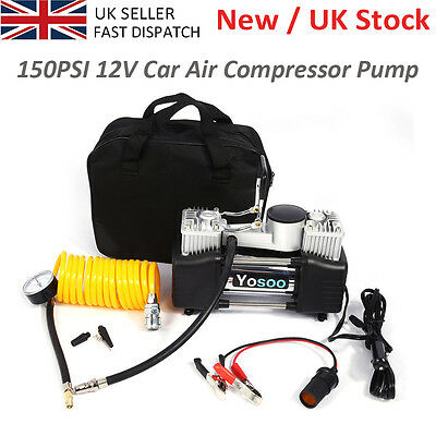 Heavy Duty Portable 12V Electric Car Tyre Inflator 150Psi Air Compressor Pump Uk