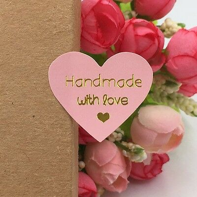 Handmade Made With Love Heart Stickers x 40 Pink and Metallic Gold Craft Cakes