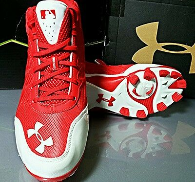 UNDER ARMOUR UA Heater Mid TPU 1246695-611 Red/White Cleats Shoes Mens Size 9