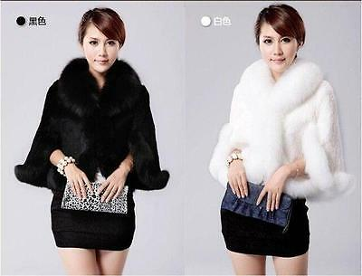 New hot Noble mink Bridal Wedding Faux Fur Long Shawl Stole Wrap Shrug Scarf