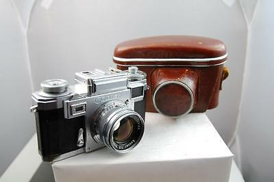 Zeiss Contax IIIa colored dial + 50mm f2 'T' Sonnar + case, nice