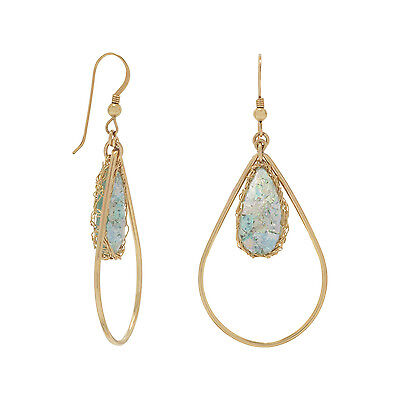 Gold Filled Ancient Roman Glass Pear Drop Earrings