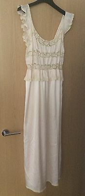 Nina Ricci Vintage Pink White Lace Nightie Night Gown Camisole Baby Doll Bridal