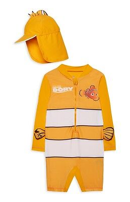 Boys Swimsuit with Hat 12-18 Months UV Sun Protection Sunsafe Surfsuit NEW BNWT