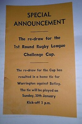 Warrington v Batley 30th January 1972 Program Special Announcement Re-draw
