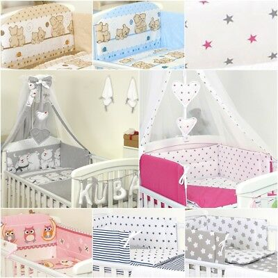 7 Pcs Baby Bedding Set To Fit Cot & Cot Bed Duvet Cover Bumper Canopy + Holder
