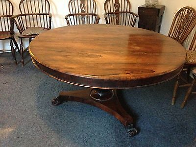 Folding Antique Round Table - William IV period Rosewood Loo Circular Table