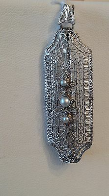 Art Deco 14k wg Filigree & 3 Cultured Pearl Pin Pendant with Hinged Bale