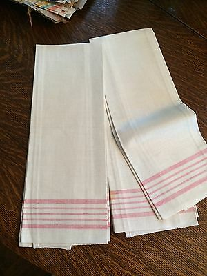 "3 vint. pure  linen dish towels never used red stripes 16""x30"" as found clean"