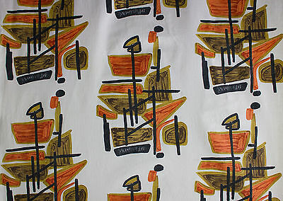 vintage 1950s abstract art print cotton barkcloth fabric