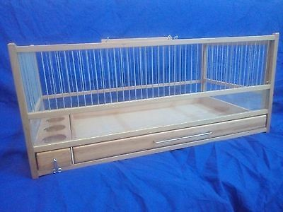 Wooden Button Quail Cage L: 21.5 - H:9.25 - W:11.81 /Slide Out Tray, Plexiglas