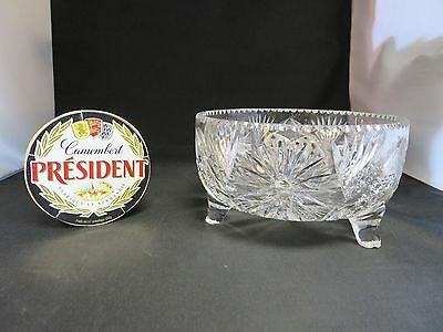 Vintage heavy American large bowl cup crystal mid century glass cut footed