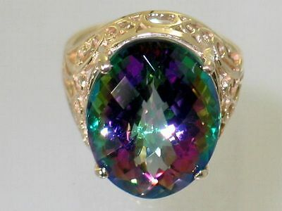 Mystic Fire Topaz Filigree 10KY or 14KY Gold Ladies Ring R291-Handmade