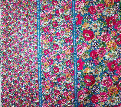 vintage 1980s floral border print pure cotton dress fabric
