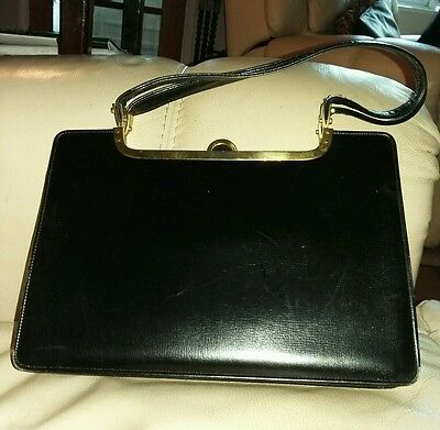 Vintage Kelly Style 1950's Black Leather Handbag with Purse